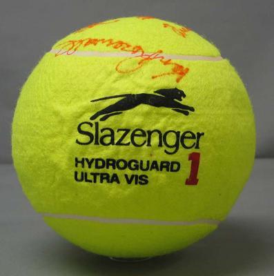 Oversized tennis ball, signed by Neale Fraser, Frank Sedgman, Jack Kramer and Ken Rosewall - 2007