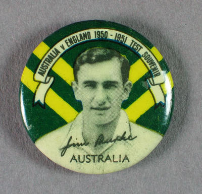 Badge with image of Jim Burke, 1950-51