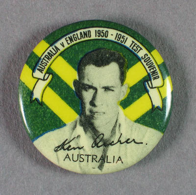 Badge with image of Ken Archer, 1950-51