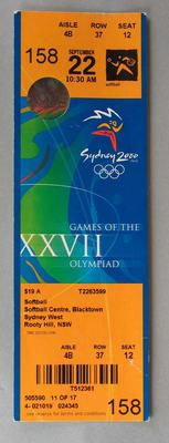 Ticket to the Softball at the 2000 Sydney Olympic Games, Softball Centre, Blacktown, Sydney West for 22 September 2000.