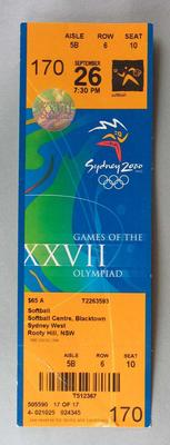 Ticket to the Softball at the 2000 Sydney Olympic Games, Softball Centre, Blacktown, Sydney West for 26 September 2000.