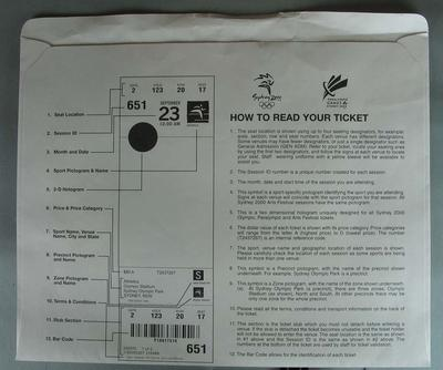 Envelope, used to contain 2000 Olympic Games admission tickets