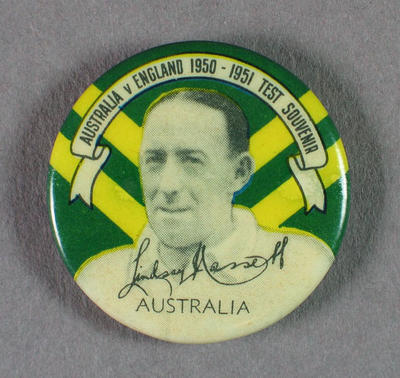 Badge with image of Lindsay Hassett, 1950-51