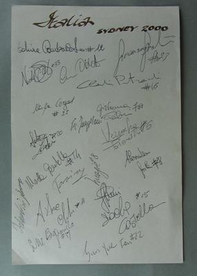 Piece of paper signed by the Italian softball team, Sydney Olympic Games, 2000