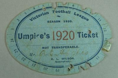 Victorian Football Association umpire ticket, issued to Alfred Hughes - season 1920