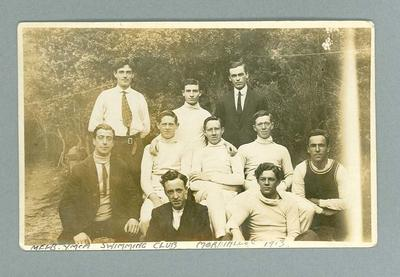 Postcard, depicts the Melbourne YMCA Swimming Club - Mordialloc, 1913