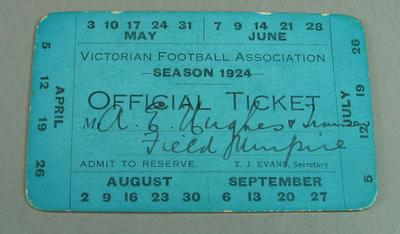 Victorian Football Association umpire ticket, issued to Alfred Hughes - season 1924