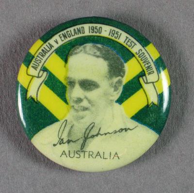 Badge with image of Ian Johnson, 1950-51