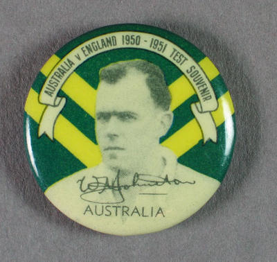 Badge with image of William Johnston, 1950-51