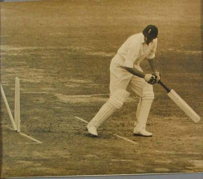 Photograph of T W Graveney after being dismissed, England v Australia Test - Lords, 22 June 1956