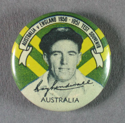 Badge with image of Ray Lindwall, 1950-51