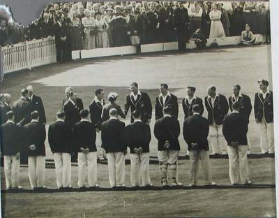 Photograph of the Australian cricket team meeting the Queen on tour in England, 1956.