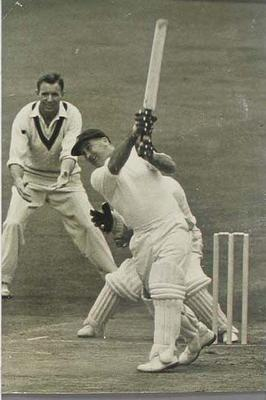 Photograph of T G Evans, 4th Test England v Australia at Old Trafford, 27 July 1956