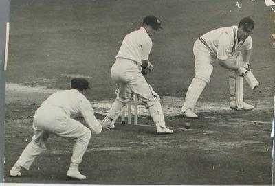 Photograph of Denis Compton batting, Middlesex v Australia at Lord's - 23 July 1956