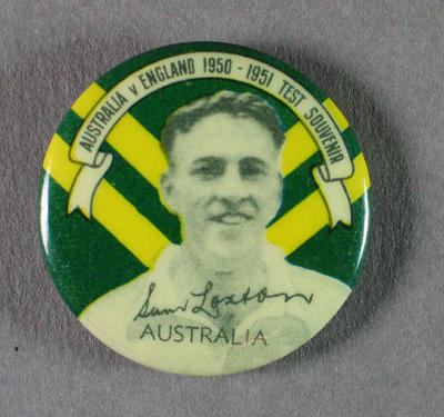 Badge with image of Sam Loxton, 1950-51