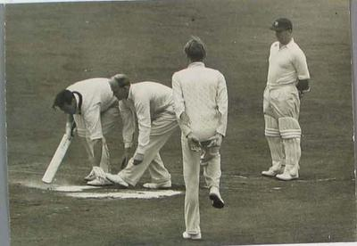 Photograph of Keith Miller and G A R Lock during the Third Test, England v Australia at Leeds - 16 July 1956