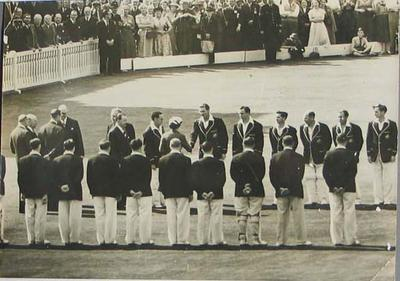 Photograph of the Australian cricket team meeting the Queen on tour of England, 1956.