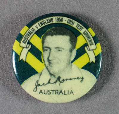 Badge with image of Jack Moroney, 1950-51