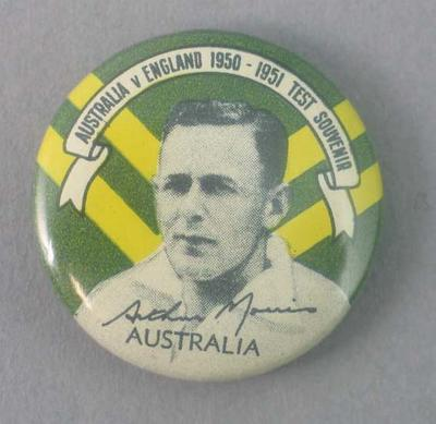 Badge with image of Arthur Morris, 1950-51