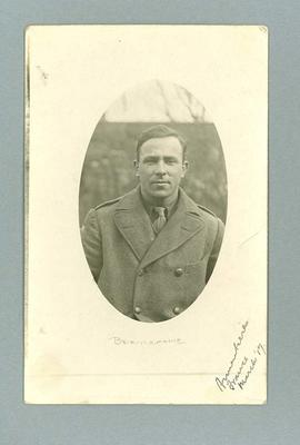 Postcard, depicts Frank Beaurepaire in military attire - Armentieres, France