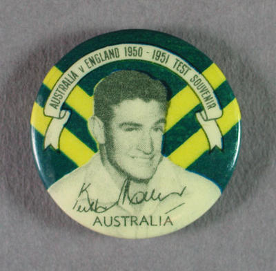 Badge with image of Keith Miller, 1950-51