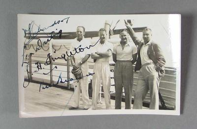 Photograph of Victor Richardson, Len Darling, Jack Fingleton and Bill Brown, Australian tour of South Africa 1935-36