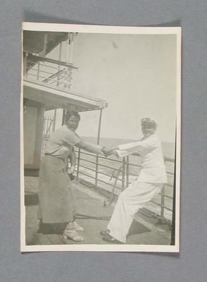 Black and white photograph of two people on deck, Australian XI tour of South Africa 1935-36