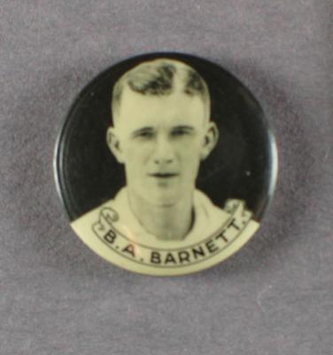 Badge with image of Benjamin Barnett, 1934