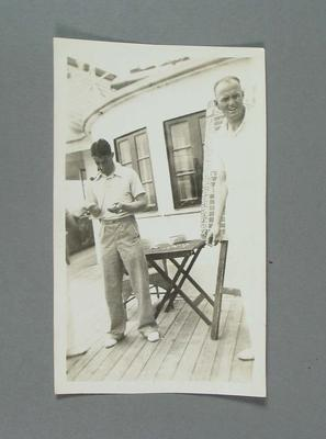 Photograph of Bill O'Reilly on deck, Australian XI sailing to South Africa on tour in 1935-36; Photography; M16434.23