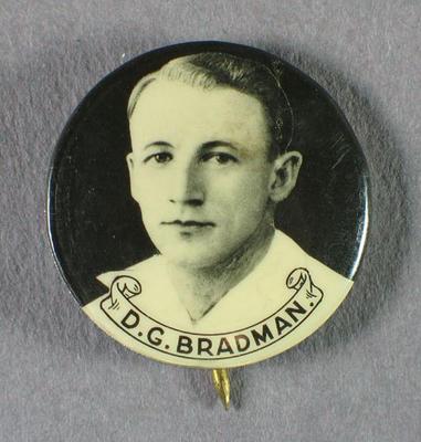 Badge with image of Don Bradman, 1934