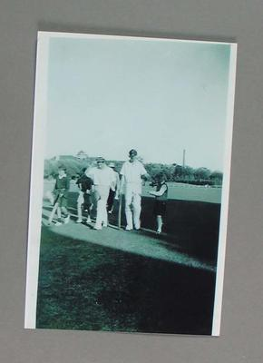 Black and white photograph, cricketers Colin McDonald and others, Melbourne v. Richmond at Albert Ground, November 1948