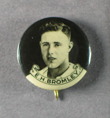 Badge with image of Ernest Bromley, 1934