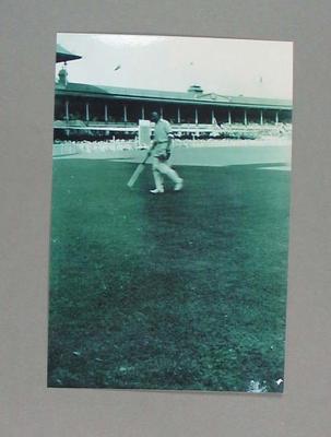 Black and white photograph, cricketer Lindsay Hassett, 3rd Test India v Australia at MCG. January 1948