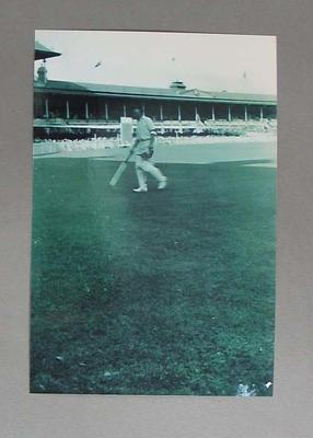 Black and white photograph, cricketer Don Bradman,  3rd Test India v Australia at MCG. January 1948