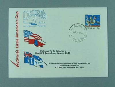 First day cover envelope - Victoria's Little America's Cup 21 January 1989