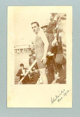 Postcard, image of Frank Beaurepaire in bathing costume - Adelaide, 1910
