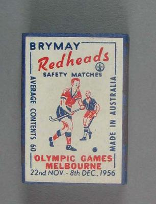A Brymay Redhead match box with matches, cover depicts  Hockey - 1956  Melbourne Olympics