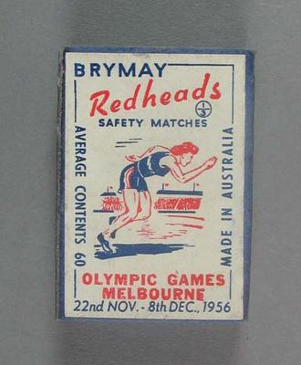 A Brymay Redhead match box with matches, cover depicts Running - 1956  Melbourne Olympics