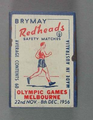 A Brymay Redhead match box with matches, cover depicts Walking - 1956  Melbourne Olympics