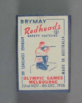 A Brymay Redhead match box with matches, cover depicts Shooting - 1956  Melbourne Olympics