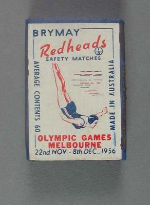 A Brymay Redhead match box with matches, cover depicts Diving - 1956  Melbourne Olympics
