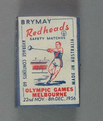 A Brymay Redhead match box with matches, cover depicts Hammer Throw - 1956  Melbourne Olympics