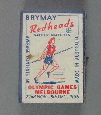 A Brymay Redhead match box with matches, cover depicts Javelin - 1956  Melbourne Olympics