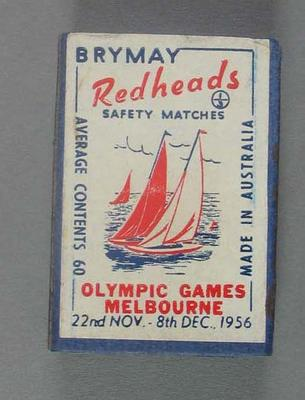 Box of Brymay Redheads matches with image of Sailing, Melbourne Olympics 1956