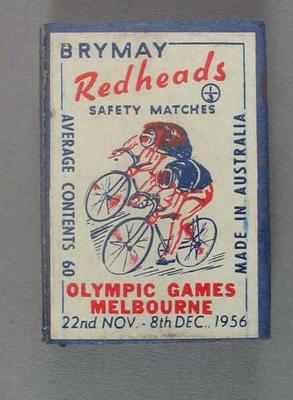 Box of Brymay Redheads matches with image of Cycling, Melbourne Olympics 1956