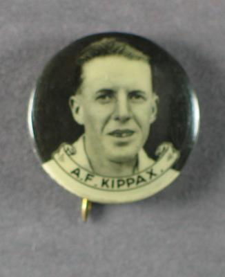 Badge with image of Alan Kippax, 1934