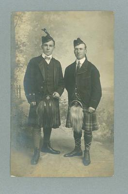 Postcard, depicts Frank Beaurepaire and friend in Scottish attire - 1908 Olympic Games