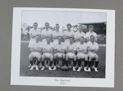 Black and White photograph of the 1950 Boundary Umpires on old Richmond Ground.