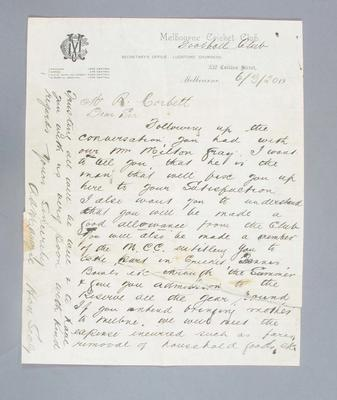 Letter from Melbourne Cricket Club to Robert Corbett, detailing an offer to join the Club - 6 March 1920; Documents and books; 2008.263.2