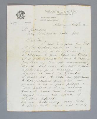Letter from MCC Football Club to Castlemaine Football Club re Robert Corbett, 24 Feb 1930